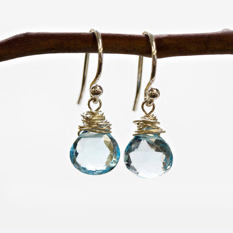 Blue Topaz Wire Earrings Wholesale
