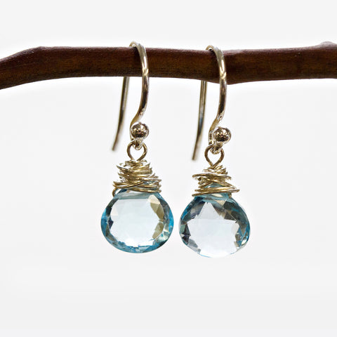 Blue Topaz Wire Earrings