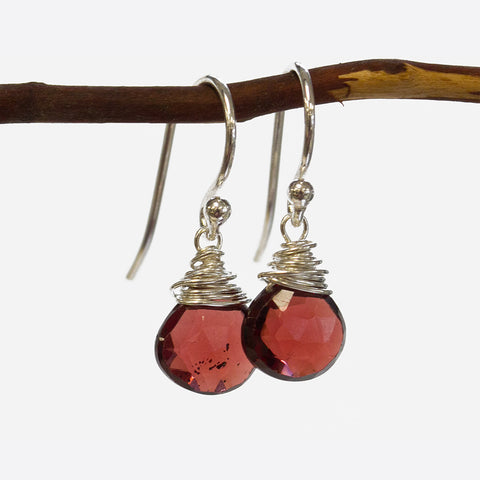 Garnet Wire Earrings