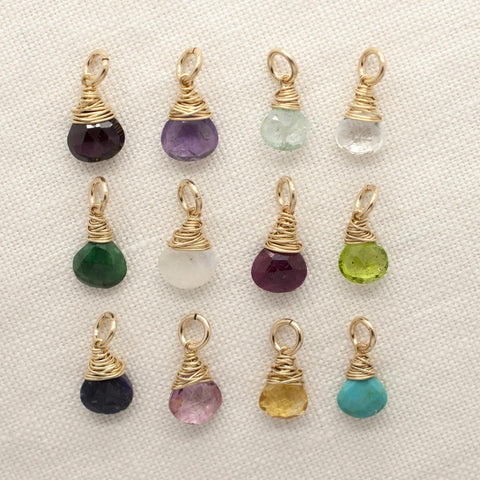 Gold CW Gem Birthstone Charm Wholesale