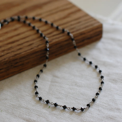 Black Gem Silver Necklace