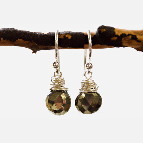 Pyrite Wire Earrings