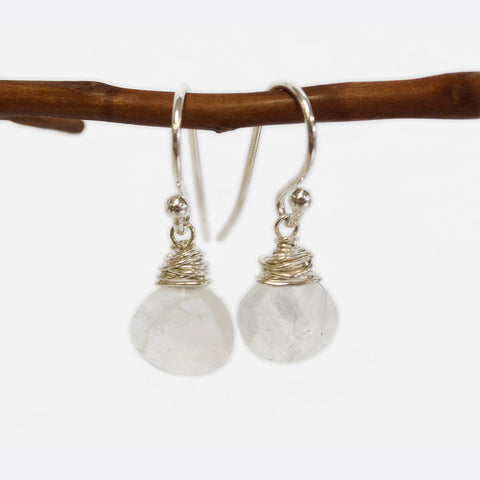 Rainbow Moonstone Wire Earrings