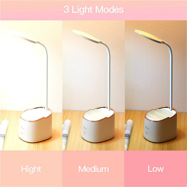 1800mAh 18650 Rechargeable Table Lamp Storage Pen Hoder Lamps Table 18pcs Led Touch Table Lamp USB Hose Student Led Desk Lamp