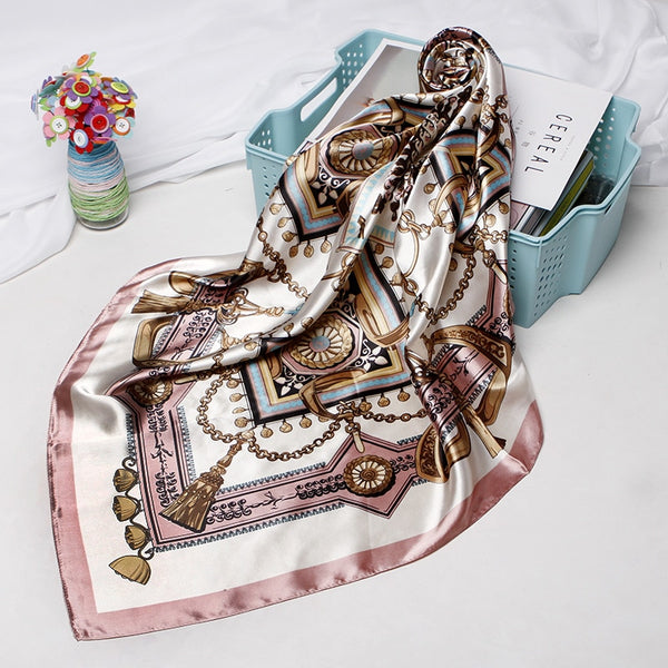 Fashion Hijab Scarf For Women Print Silk Satin Hair Scarfs Kerchief 90*90cm Square Neckerchief Headband Scarves For Ladies 2019