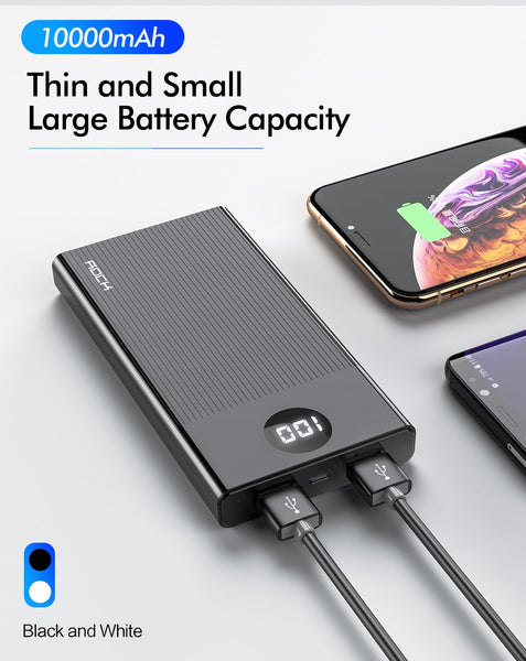 ROCK Power Bank 10000mAh LED Display Portable Charging PowerBank 10000 mAh USB External Battery Charger For Xiaomi Mi 9 8 iPhone