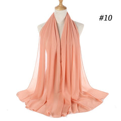 Muslim Plain Bubble Chiffon Hijab Scarf Women 2020 Solid Color Soft Long Shawls and Wraps Georgette Head Scarves Ladies Hijabs