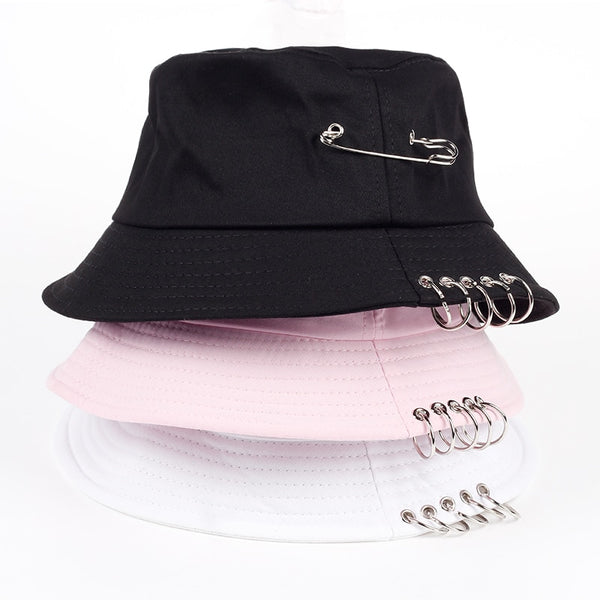 VORON Solid Color iron pin rings personality Bucket Hat cap for unisex women men cotton fishermen caps factory sells directly