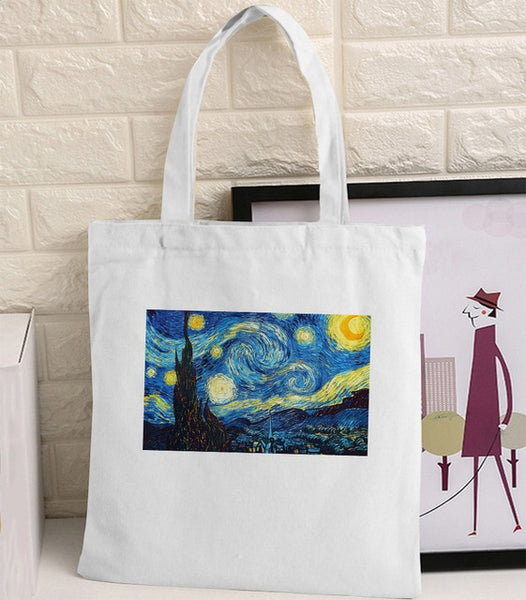 Van Gogh Shopping Bag Graphic Tote Harajuku Shopper Bag Women Canvas Shoulder Bag Female Ulzzang Funny Eco Large-capacity