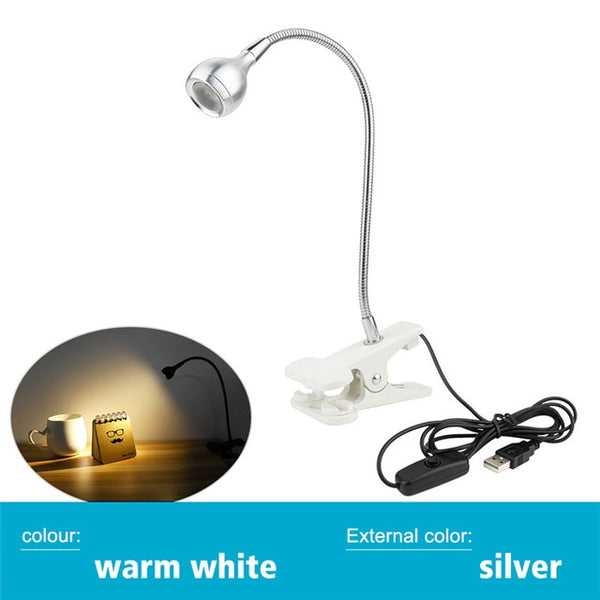 USB Power Supply Desk Lamp with Clip Holder Rechargeable USB Led Table Lamp Flexible Foldable Eye Protection Reading Book Lights