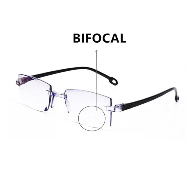 Men Women Rimless Reading Glasses Bifocal Far Near Anti Blue Light Magnification Eyewear Presbyopic Glasses Diopter +150 TR90