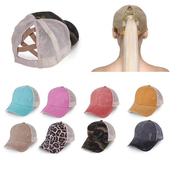 Ponytail Baseball Cap Messy Bun Hats For Women Washed Cotton Snapback Caps Casual Summer Sun Visor Outdoor Hat