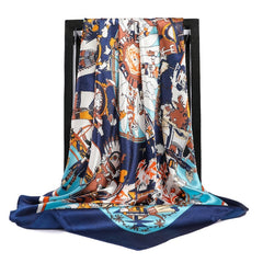 Silk Scarves Women Foulard 90*90cm Square head scarf Ladies Shawl wrap muffler pareo Bandanna female chiffon hijab poncho wool