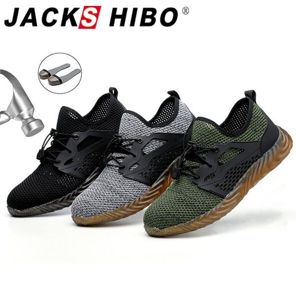 JACKSHIBO  Work Safety Shoes For Man Summer Breathable Boots Working Steel Toe Anti-Smashing Construction Safety Work Sneakers