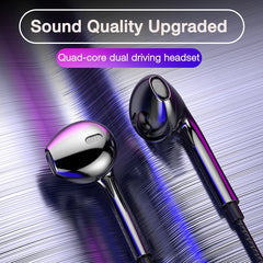 Quad-core Mobile Wired Headphones 3.5 Sport Earbuds with Bass Phone Earphone Wire Stereo Headset Mic Music Earphones for Xiaomi