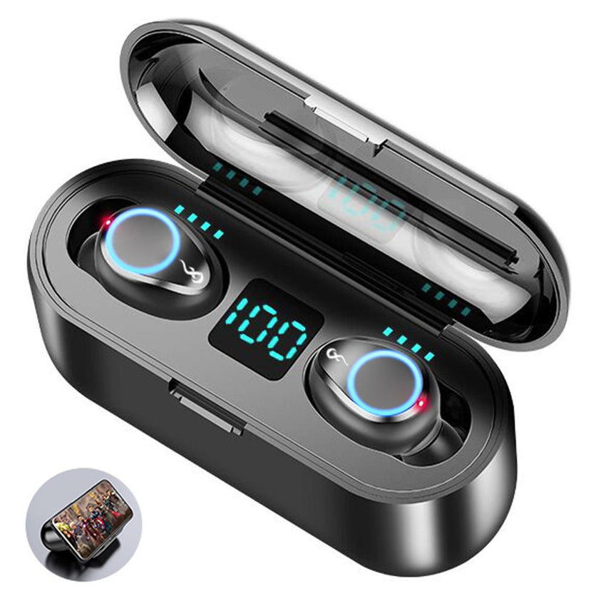 Wireless Bluetooth 5.0 Earphones Double Mini Earbuds In-Ear Headset with Microphone as Smart Phone Power BanK for Music Calling