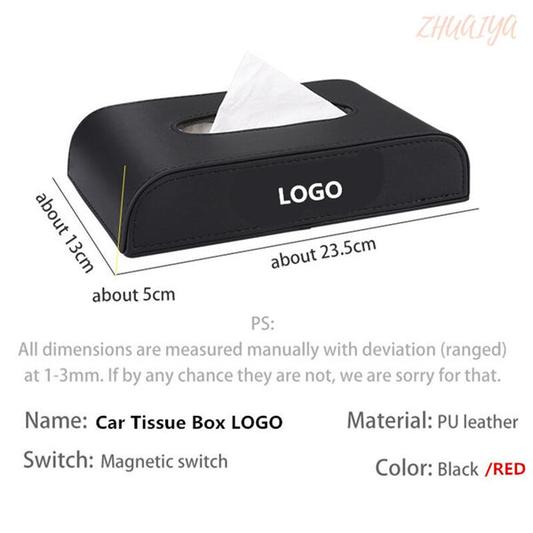 Car Tissue Box Cover Tissue Box Boxes holder PU Leather towel inside paper Block  Accessories For ACURA logo RLX RDX MDX ILX TLX