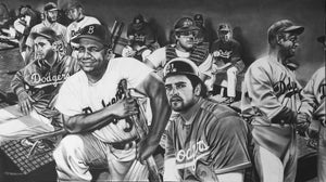 The All-Time Dodgers Memorabilia - Catchers: Roy Campanella Mike Piazza Painting by Dave Hobrecht