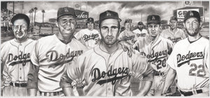 The All-Time Dodgers Memorabilia - Pitchers: Sandy Koufax Clayton Kershaw Painting by Dave Hobrecht