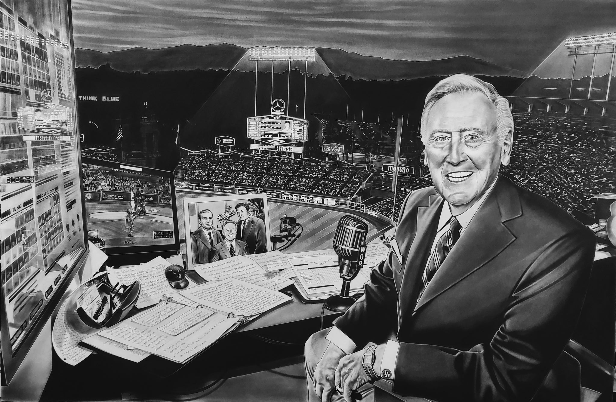 Los Angeles Dodgers Vin Scully Painting Dave Hobrecht Sports Art