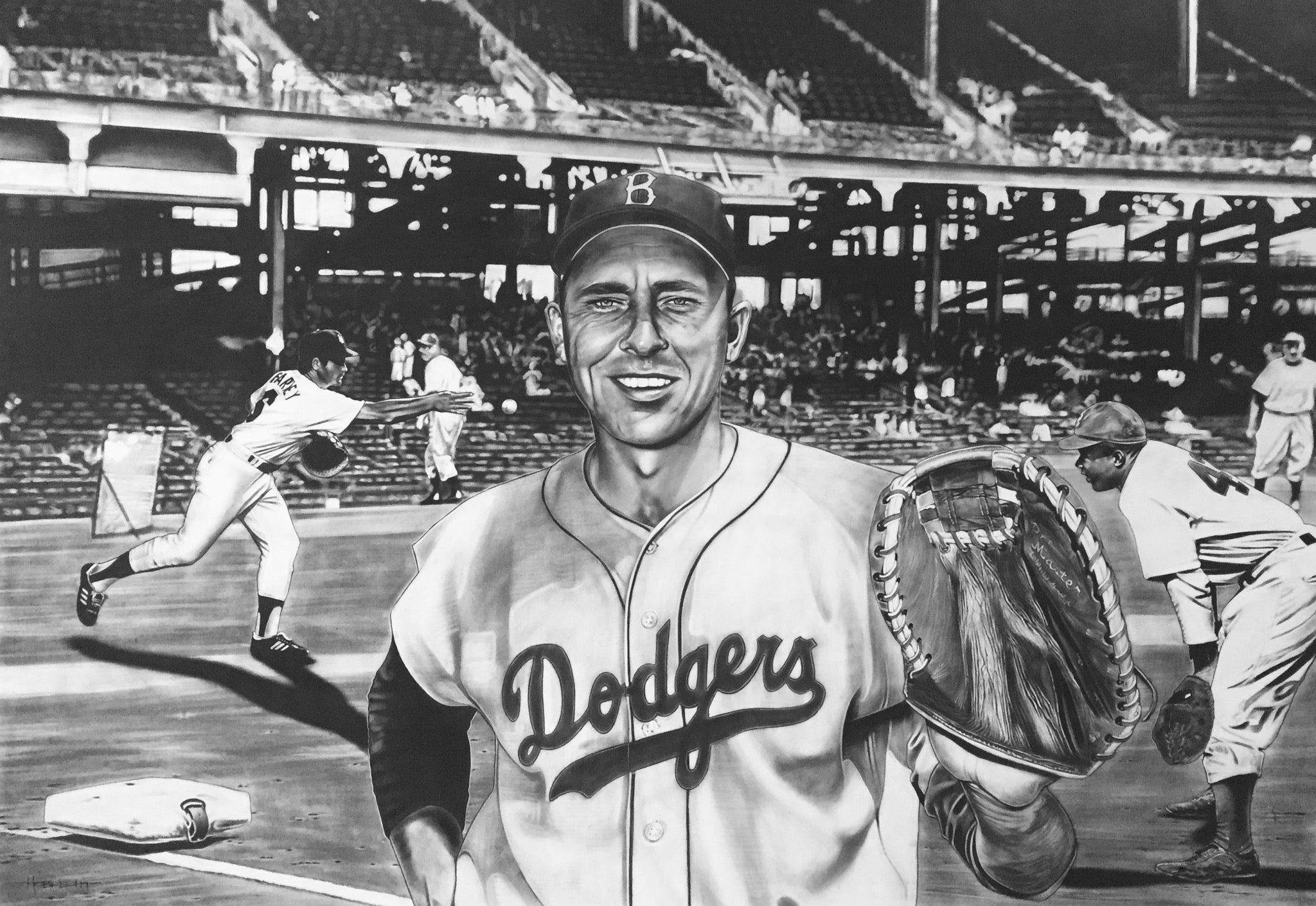 The All-Time Dodgers 1st Base Gil Hodges Painting by Dave Hobrecht