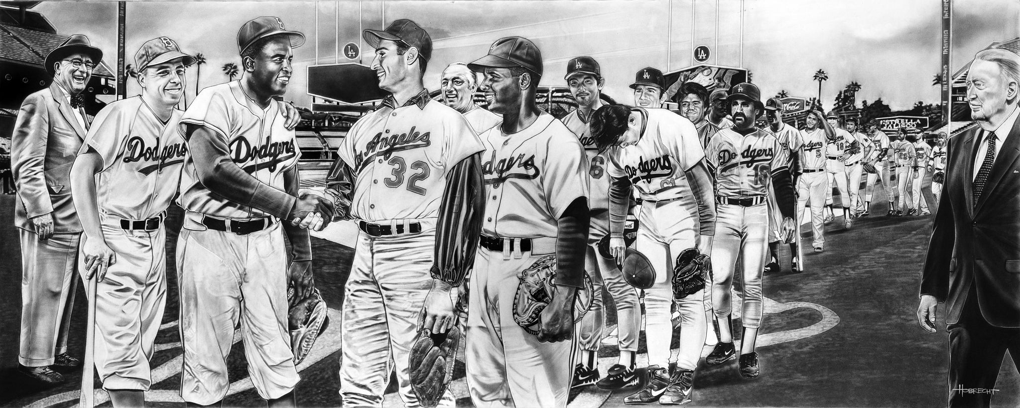 The All-Time Dodgers 2nd Base Jackie Robinson Painting Game Changer by Dave Hobrecht