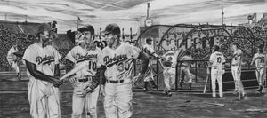 The All-Time Dodgers 3rd Base Ron Cey Jackie Robinson Painting by Dave Hobrecht
