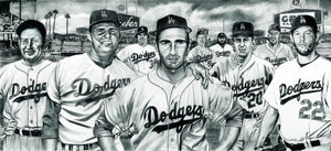 Original The All-Time Dodgers Pitchers Koufax Kershaw Painting by Dave Hobrecht