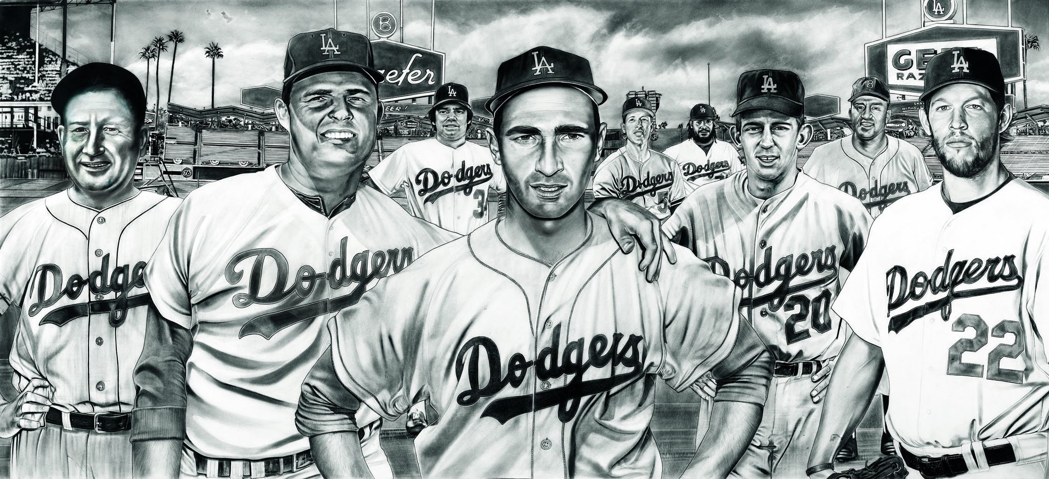 The All-Time Dodgers Pitchers Koufax Kershaw Painting by Dave Hobrecht