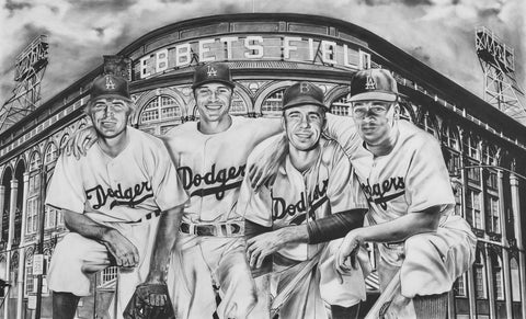 Original The All-Time Dodgers Art Shortstops Reese Seager Painting by Dave Hobrecht