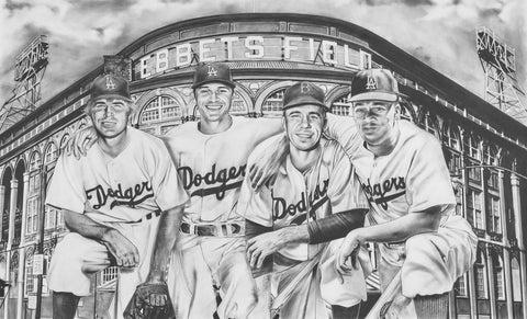 The All-Time Dodgers Art Shortstops Reese Seager Painting by Dave Hobrecht