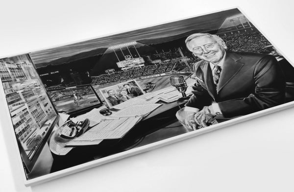 The All-Time Dodgers Vin Scully Painting Dave Hobrecht Sports Art Wood Print