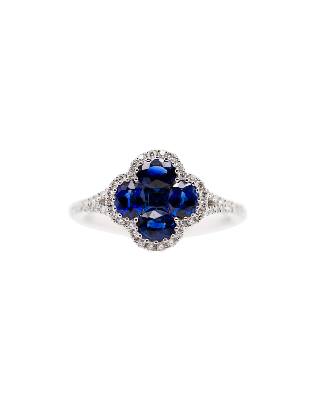 18k WG Blue Sapphire and Diamond Clover Ring