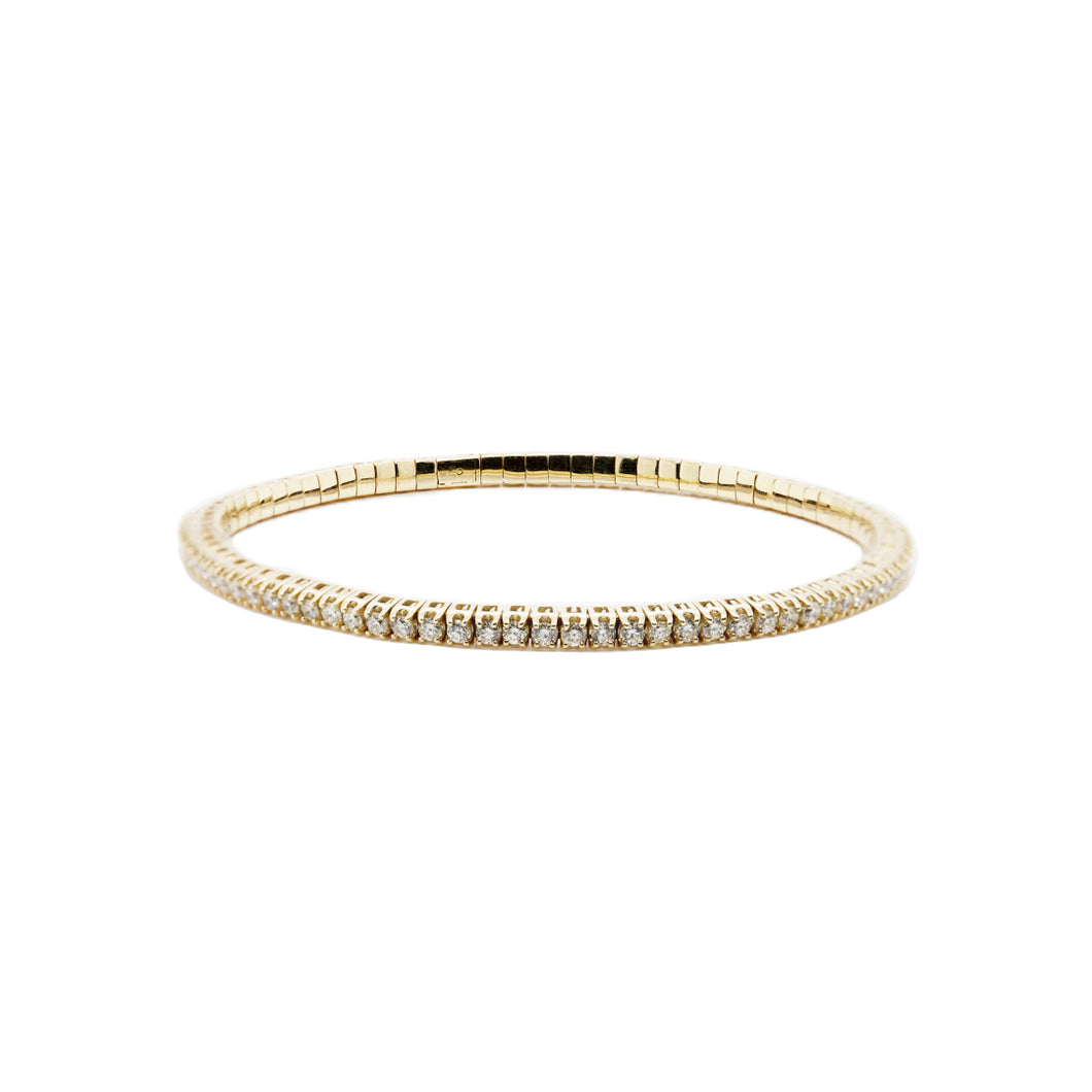 14k Yellow Gold Diamond Stretch Tennis Bracelet