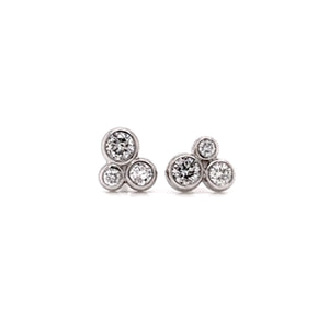 "Round Diamond ""3 Cluster"" Ear Studs"
