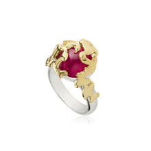 Load image into Gallery viewer, Silver, Gold and Pink Tourmaline Coral Ring - Size 7