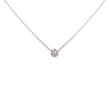 "Load image into Gallery viewer, 14k White Gold ""Small Diamond Cluster"" Station Necklace"