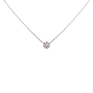 "14k White Gold ""Small Diamond Cluster"" Station Necklace"