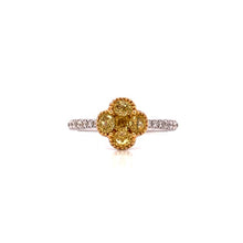 "Load image into Gallery viewer, Fancy Yellow & White Diamond ""Clover"" Ring"