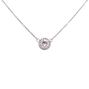 Round Brilliant Diamond Halo Necklace