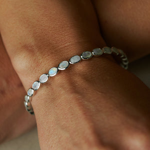 "SS ""Rainbow Moonstone"" Bangle"