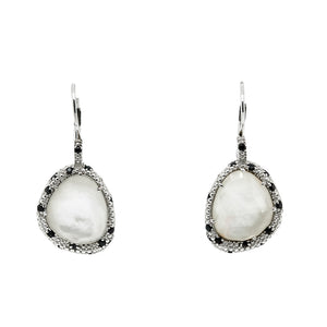 SS Mother of Pearl & Black Spinel Earrings