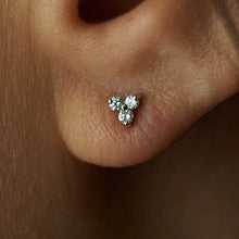 "Load image into Gallery viewer, 14k White Gold ""3 Diamond"" Triangle Ear Studs"