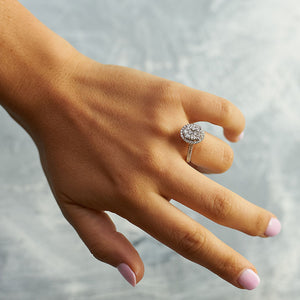 "Oval Diamond ""Cluster"" Halo Ring"