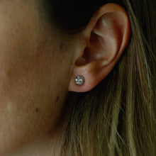 "Load image into Gallery viewer, 14k White Gold ""Cluster"" Diamond Ear Studs (.75ct)"
