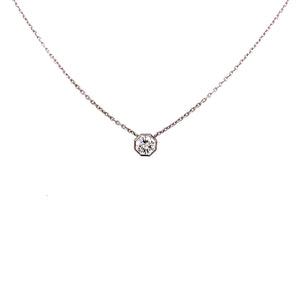 """Octagon"" Cut Solitaire Pendant Necklace"