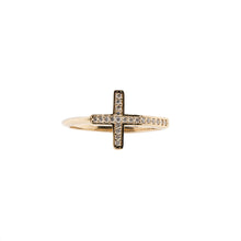 Load image into Gallery viewer, Yellow Gold Diamond Cross Ring