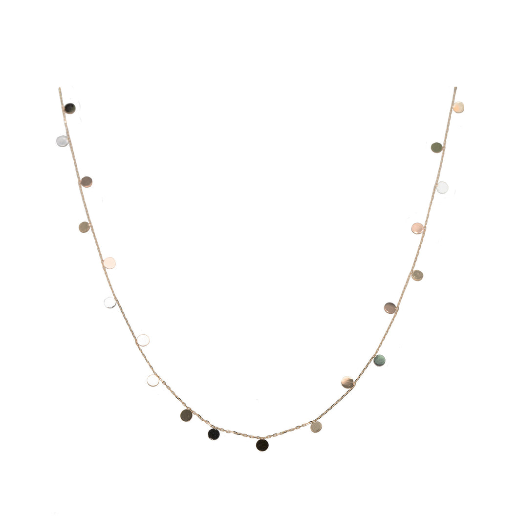 Petite Gold Disk Station Necklace, 18 inches
