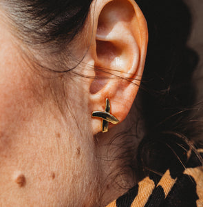 Gold X Earring Studs