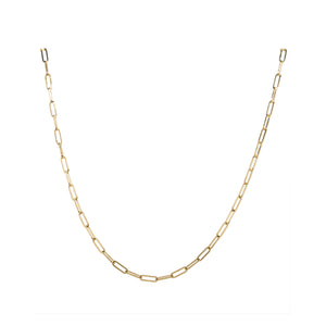 Yellow Gold Paperclip Chain Necklace, 20 Inches